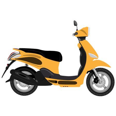 Orange scooter delivery isolated icon, delivery transport