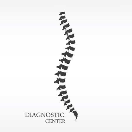 Vector illustration black silhouette spine diagnostic symbol, design, sign. Diagnostic center