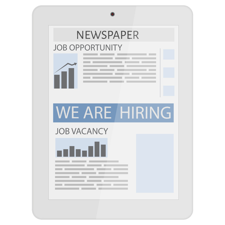job opportunity: Business newspaper on tablet. Mobile news concept. Tablet and newspaper.  Flat design. We are hiring. Job opportunity, vacancy Illustration
