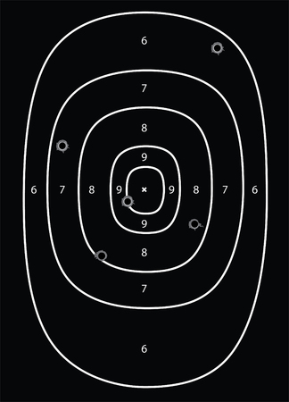 concealed: Vector illustration black shooting target with bullet holes Illustration