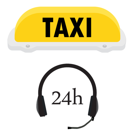 helpline: Vector illustration yellow taxi sign and headphones. Taxi service concept. Helpline or help center