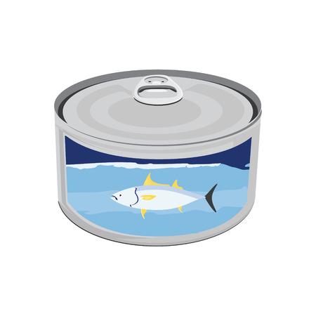 Ilustración vectorial icono de enlatado de atún. Lata de atún con atún etiqueta. Diseño plano Foto de archivo - 49946205