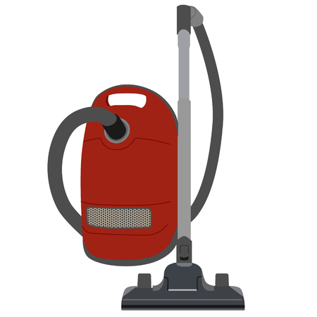 carpet cleaning service: Red vacuum cleaner vector illustration. Old vacuum cleaner. Home appliances. Cleaning icons