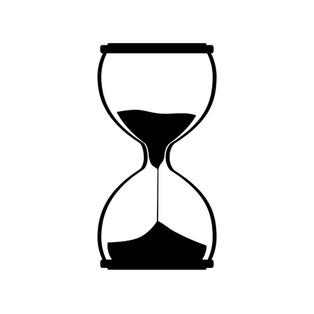 watch glass: Hourglass silhouette raster icon. Sand watch. Sand glass. Sand clock Stock Photo