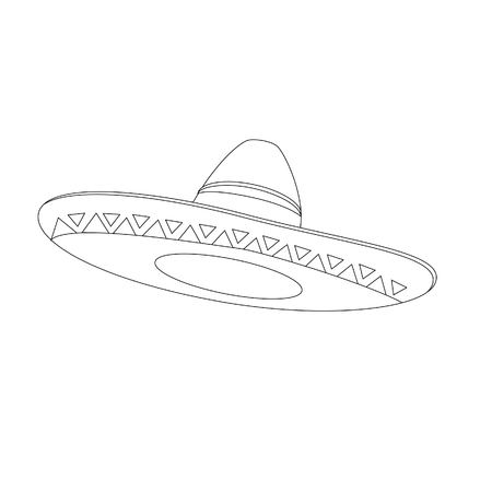 mexican hat: Mexican hat outline drawings raster isolated, mexican sombrero, traditional mexican