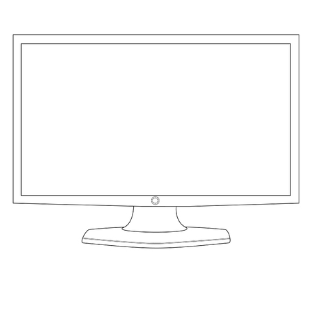 flat screen: Flat screen, computer monitor, monitor icon,  outline drawings