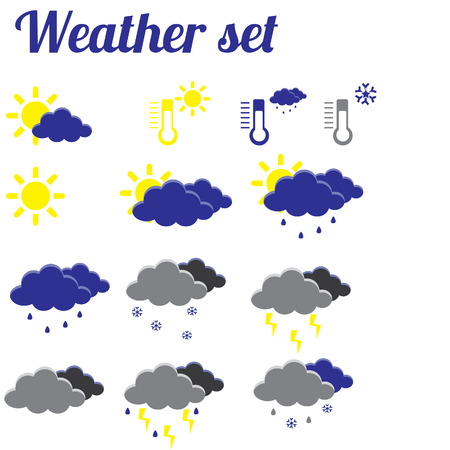 weather symbols: Illustration of weather, weather symbols, weather icon set, weather forecast, icons, sun icon