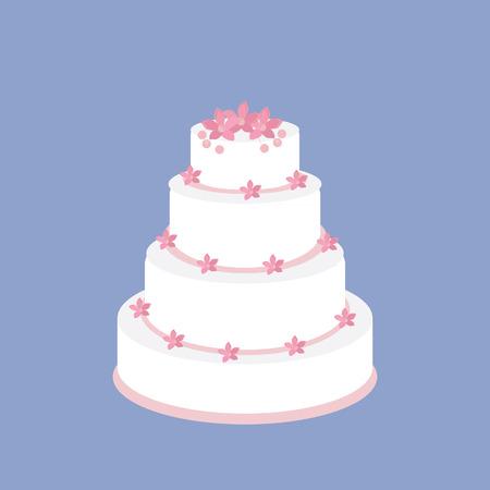 torte: Wedding cake with pink flowers raster on blue background, wedding invitation . Stock Photo