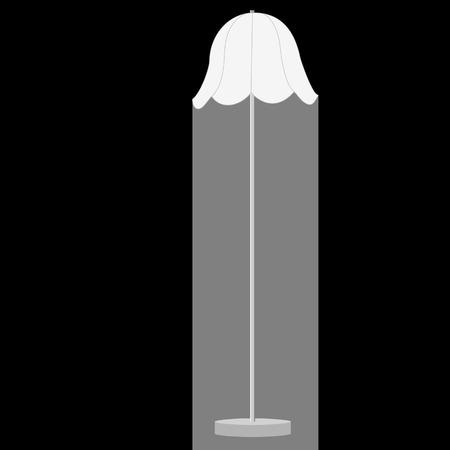 floor lamp: raster illustration of white  illuminated floor lamp on black background. Lamp light. Standing lamp