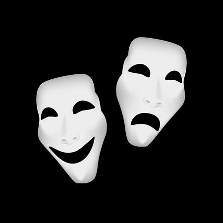 mascaras de teatro: máscaras del teatro, máscaras del teatro, máscaras de teatro aislados de trama Foto de archivo