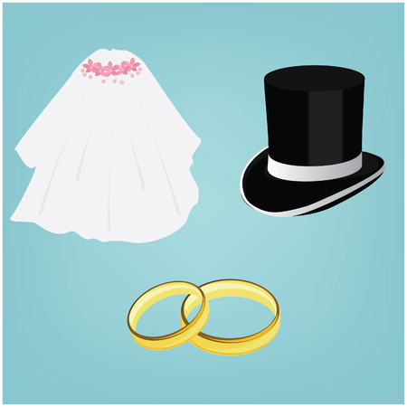 bride veil: Wedding rings, white bride veil and groom black cylinder, wedding couple, wedding invitation