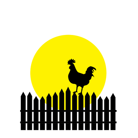 rooster at dawn: Illustration of rooster silhouette, rooster crowing, rooster weathervane, rooster raster, farm, rooster icon, chicken Stock Photo
