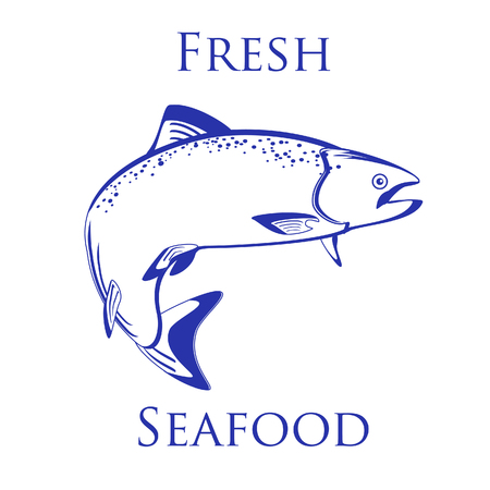 sockeye: Salmon fish raster isolated on white, vintage, design Stock Photo