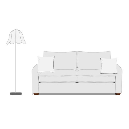 white sofa: raster illustration of white sofa with two pillows and white standing floor lamp. Classic sofa. Living room interior Stock Photo