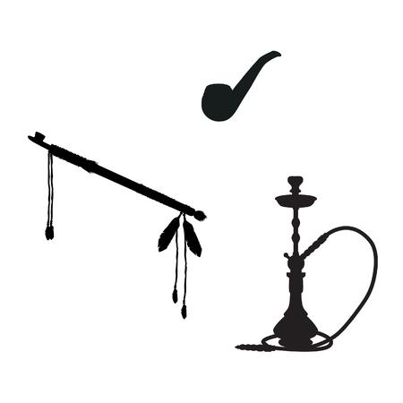 waterpipe: raster illustration of tobacco and smoking silhouette icons set. Smoking pipe, waterpipe and calumet.