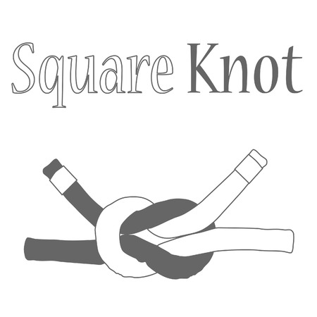 rope knot: Square joining knot raster isolated, nautical knot, rope knot, silhouette Stock Photo