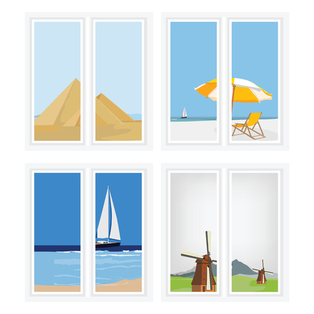 giza pyramids: raster illustration white window with different views  beatifull seascape, rural landscape and eqypt pyramids giza. Stock Photo
