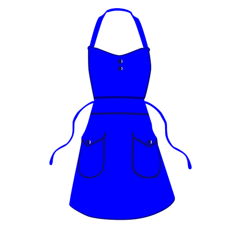 protective apron: Blue kitchen apron raster isolated, chef apron