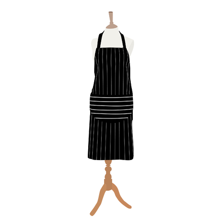protective apron: Black, striped kitchen apron on mannequin raster isolated, chef apron Stock Photo