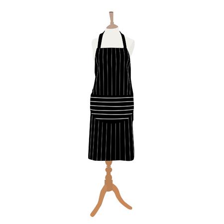 kitchen apron: Black, striped kitchen apron on mannequin raster isolated, chef apron Stock Photo