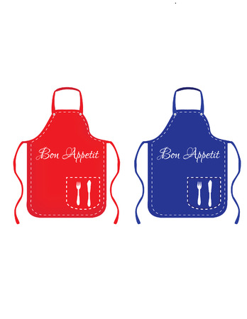 protective apron: Red and blue apron, chef apron, apron sest