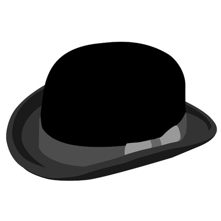 bowler hat: Black gentleman bowler hat raster isolated on white, retro hat, vintage hat
