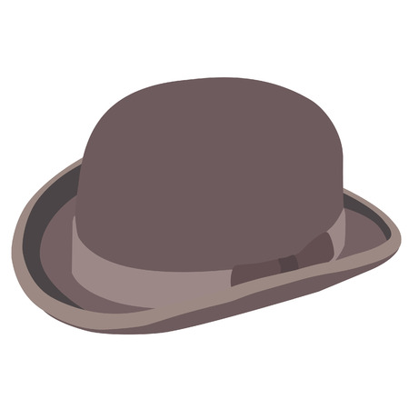 bowler hat: Brown bowler hat raster isolated, gentlemen hat, vintage hat