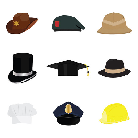 fedora: Hats and helmets collection, with policeman hat, sheriff hat, cowboy hat, work hat, top hat, graduation hat, fedora hat, safari hat, chef hat. raster illustration cartoon.