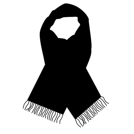 woman scarf: Black winter scarf raster isolated, fashionable accessory
