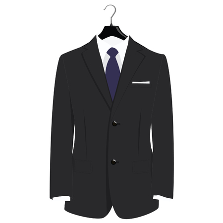 businessman suit: Man classical black suit on plastic hanger raster illustration. Grey businessman suit with blue neck tie and white shirt