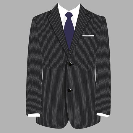 Grijs gestreepte luxe zakelijke man pak met blauwe stropdas raster geïsoleerde Stockfoto