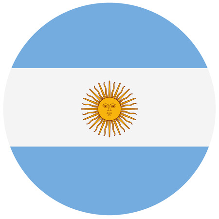 proportional: Round Argentina flag vector icon. Argentina flag button Illustration
