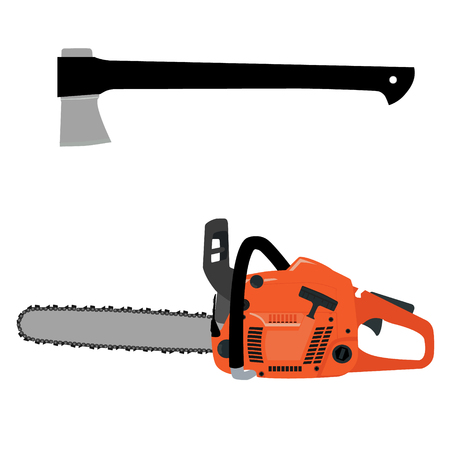 chain saw: Vector illustration realistic chainsaw and axe with black handle. Petrol chain saw. Professional instrument, working tool. Chainsaw icon