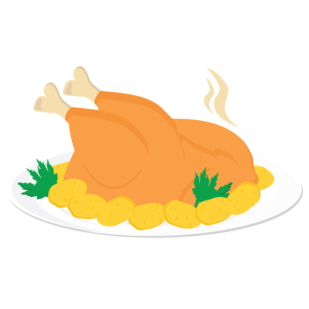 baked potatoes: Vector illustration grilled, roasted, fried chicken on white plate with potatoes and vegetable green on white background. Chicken icon Illustration