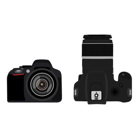 Vector illustration slr camera top and side view . Dslr realistic photo camera icon. Digital camera  イラスト・ベクター素材