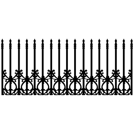 cast iron: Vector illustration wrought iron modular railing and fence. Vintage gate with swirls