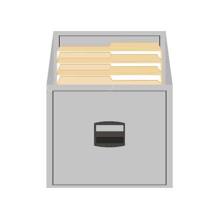 folder with documents: Vector illustration opened card catalog with file folders. Office furniture. Metal filing cabinet. Documents in folder Illustration