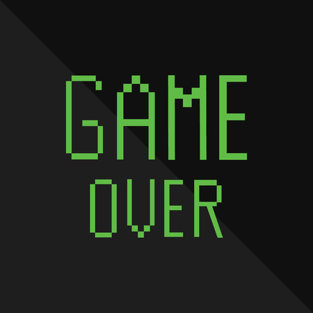 defeated: Vector pixel message with green text game over on black background. Pixel game. Game over concept