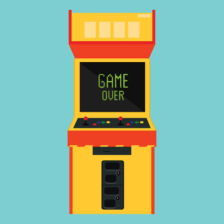 arcade: Vector illustration retro arcade with pixel game over message.