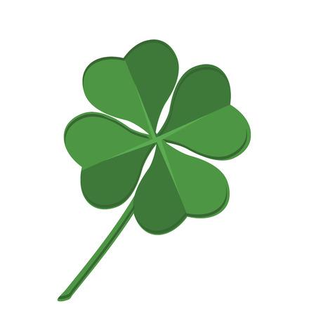 four fourleaf: Vector illustration green clover leaf. Leaf clover sign icon. Saint patrick symbol. Ecology concept. Flat design style. Illustration