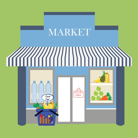 Vector illustration grocery store facade with signboard. Basket with fresh food. Flat style illustration or icon. Vettoriali
