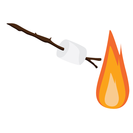 summer camp: Vector illustration marshmallow on wooden stick roasting on campfire. Bonfire with marshmallow