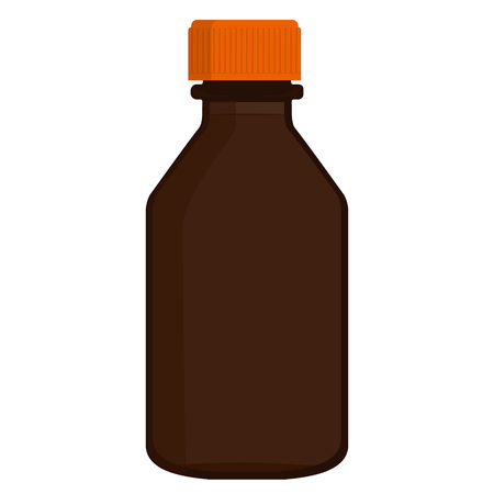 bottle screw: Vector illustration template of brown glass bottle with orange screw cap. For medicine, syrup, pills, tabs. Packaging collection.