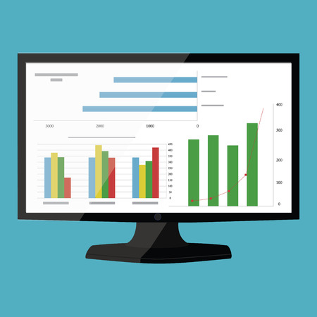 Vector illustration website analytics and SEO data analysis concept. Monitor with graphs on the screen