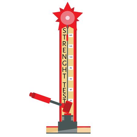 Vector illustration test your strength. Cartoon flat icon. Amusement park game Illustration