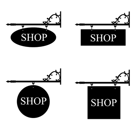 Vector illustration set of vintage, old shop signs. Signage shop sign route hanging information banner retailer.