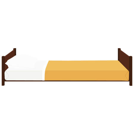 bolster: Vector illustration hospital bed with pillow. Comfort wooden bed with orange blanket. Bed icon