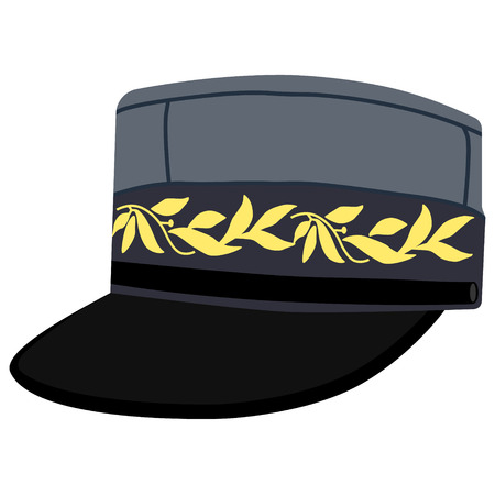 Vector illustration kepi, cap army uniform headgear. Historic general hat Illusztráció
