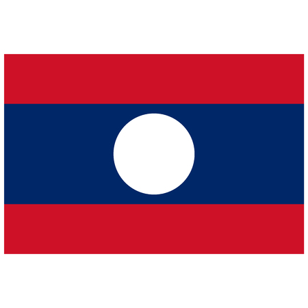 lao: Vector illustration rectangle flag of Laos country. Lao flag. Button or badge