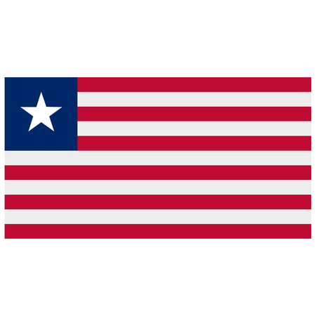 flag icon: Vector illustration rectangle flag of Liberia country. Liberian flag. Button or badge